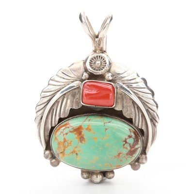 Southwestern Style Sterling Silver Turquoise and Coral Pendant
