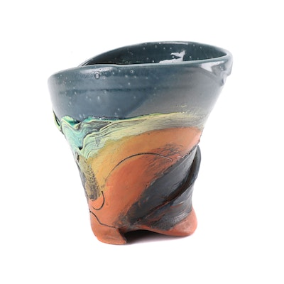 Susanne Stephenson Thrown and Altered Polychrome Stoneware Vase, Contemporary