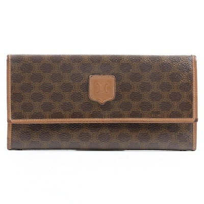Celine Paris Long Flap Wallet in Macadam Coated Canvas with Leather Trim
