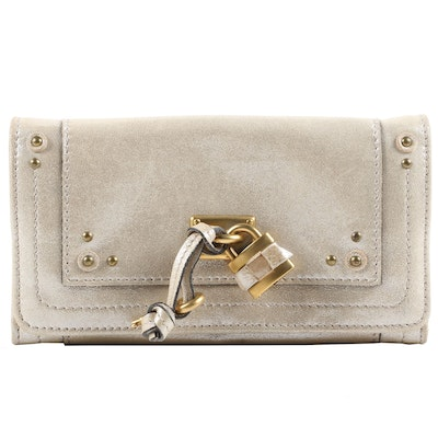 Chloé Paddington Flap Long Wallet in Pearl Metallic Leather