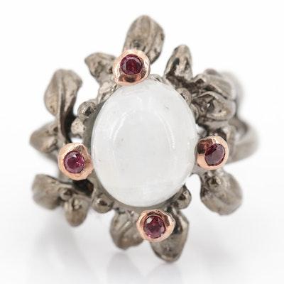 Sterling Silver Moonstone and Garnet Leaf Ring