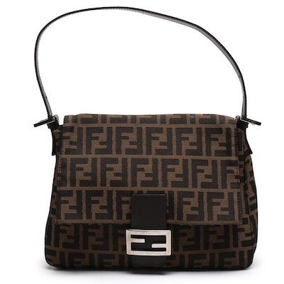 Fendi Zucca Canvas and Brown Leather Shoulder Bag