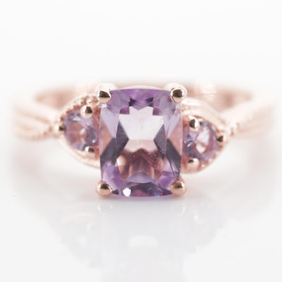 Stelring Silver Amethyst Three-Stone Ring with Rose Gold Wash