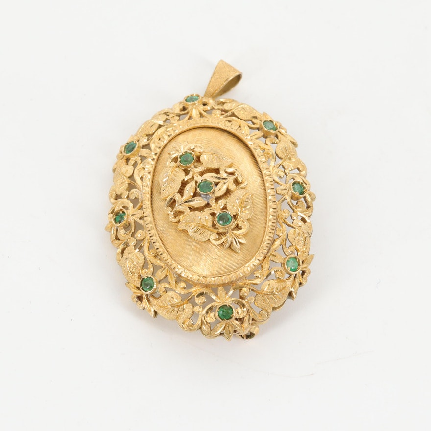Vintage 18K Yellow Gold Emerald Foliate Converter Brooch