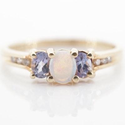 10K Yellow Gold Opal, Tanzanite and Diamond Ring
