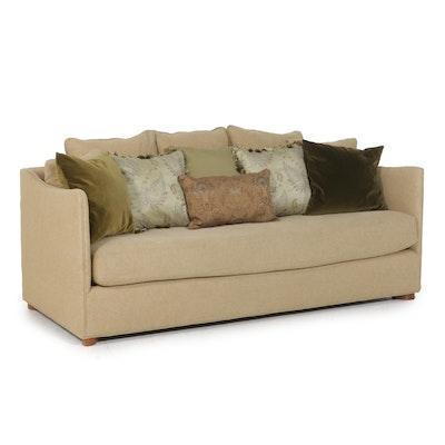 Contemporary Beige Single Cushion Sofa with Throw Pillows