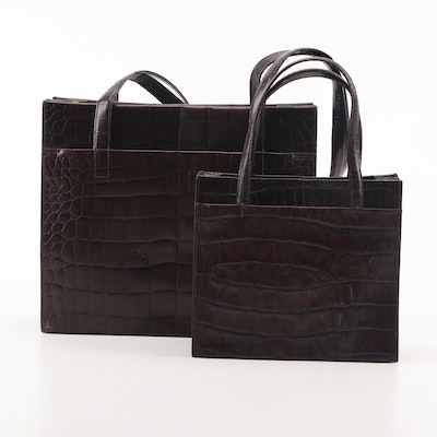 Joan and David Roma Espresso Croc Embossed Leather Handbags