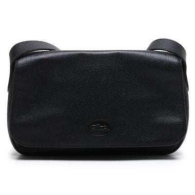 Longchamp Paris Black Pebbled Leather Front Flap Shoulder Bag