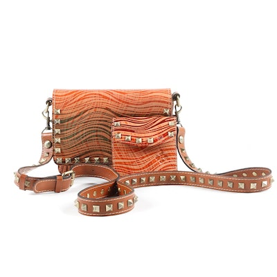 Patricia Nash Wavy Striped Collection Hermosa Studded Crossbody with Wallet