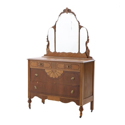 Late Victorian Walnut Chest of Drawers with Mirror, Ca. Late 19th Century