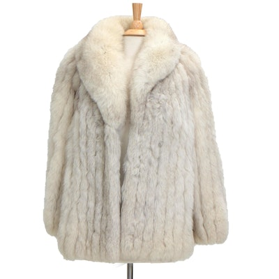 Saga Fox Blue Fox Fur Coat with Shawl Collar