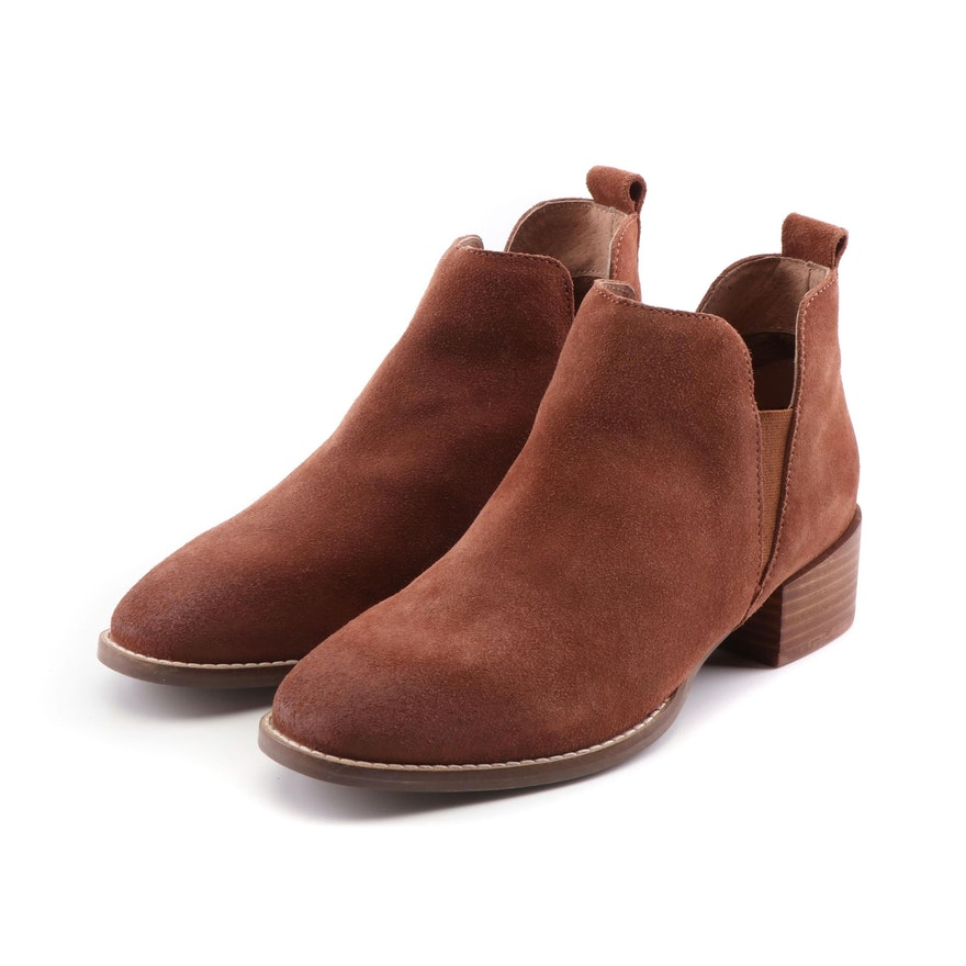 Seychelles of Los Angeles Offstage Suede Chelsea Boots in Cognac