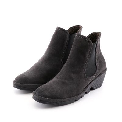 FLY London Phil Black Oil Suede Diesel Wedge Booties