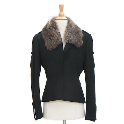 extē Camel Hair Jacket in Black with Raccoon Fur Collar, Italy