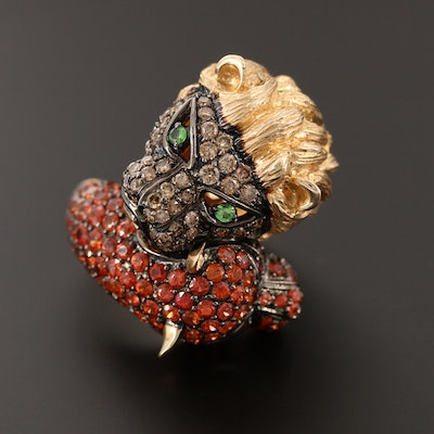 14K 1.32 CTW Diamond, Ruby and Gemstone Lion and Panther Head Bypass Ring