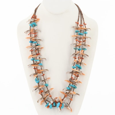 Turquoise, Spiney Oyster and Shell Fetish Necklace with Sterling Silver