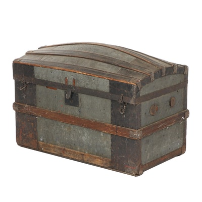 Victorian Style Dome Top Wood and Metal Trunk, Early 20th Century