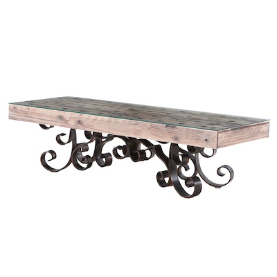 Contemporary Coffee Table on Wrought Iron Scrolled Feet