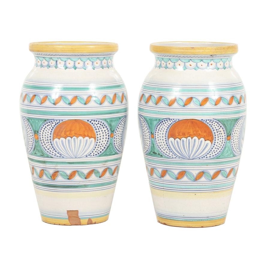 Italian L'Antica di Deruta Hand-Painted Earthenware Planter Vases