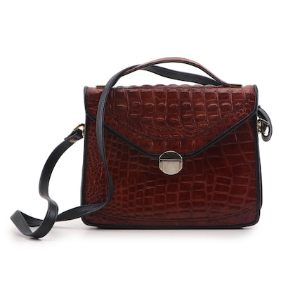 D. Brev Chestnut Brown Croc Embossed Leather Shoulder Bag, Contemporary