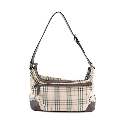 "Burberry ""Nova Check"" and Textured Leather Shoulder Bag"