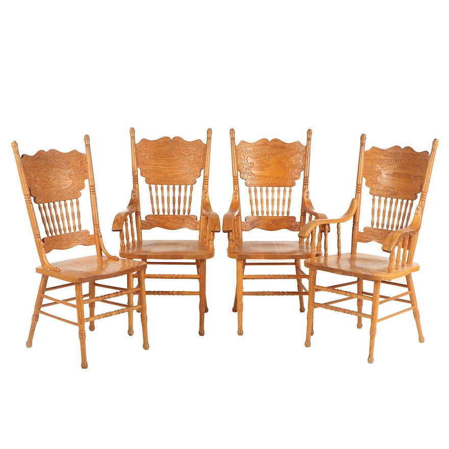 Four Golden Oak Chairs with Pressed Backs, Late 20th Century
