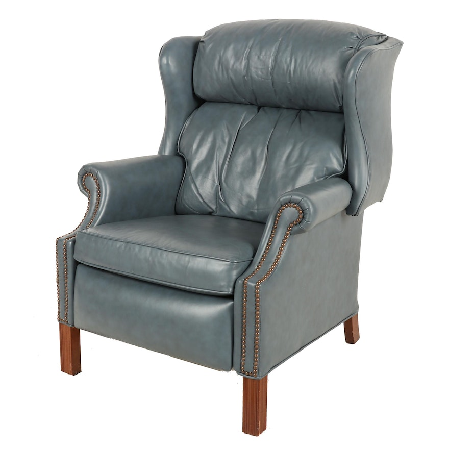 Blue Grey Leather Recliner, Mid to Late 20th Century