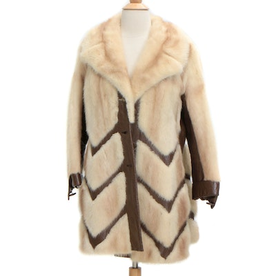 Mink and Leather Chevron Pattern Coat with Notched Shawl Collar, Vintage