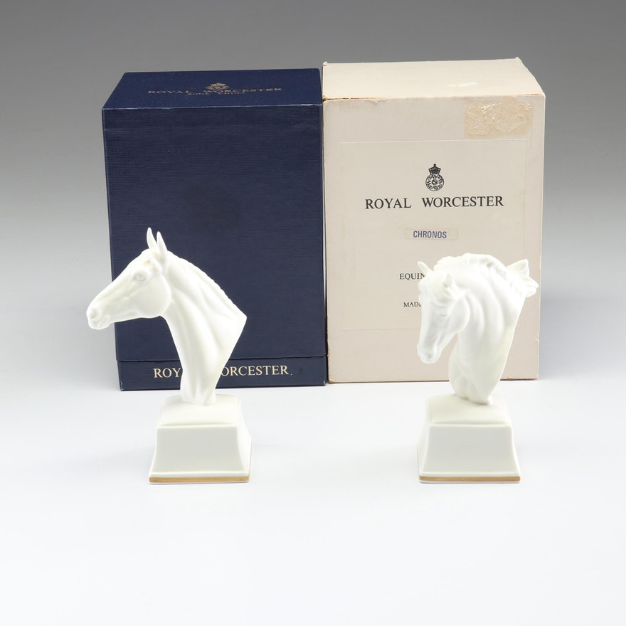 "Royal Worcester ""Eous"" and ""Chronos"" Bone China Horse Head Figurines"