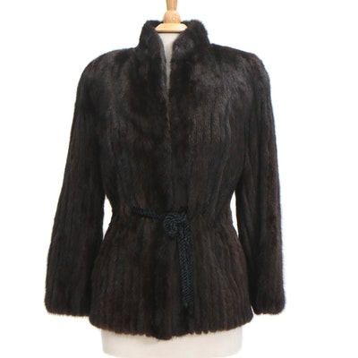 Corded Mink Fur Coat from Saga Mink with Tie Cord belt