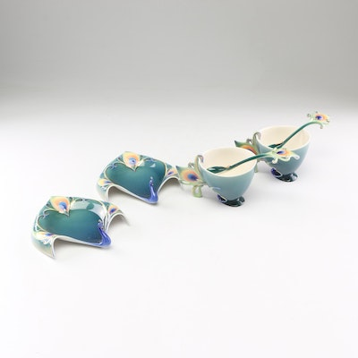 "Franz Collection for Kathy Ireland ""Peacock Splendor"" Porcelain Teacups"