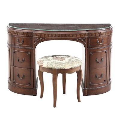 Regency Style Mahogany Kneehole Desk and Stool, Mid-20th Century