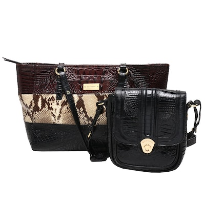 Brahmin Embossed Leather Tote and Shoulder Bag