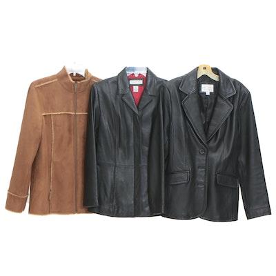 Preston & York and Worthington Black Lambskin Leather Jackets with Other Jacket