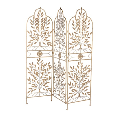 Contemporary Gold Tone Metal Panels with Leaf Motif, Set of Three