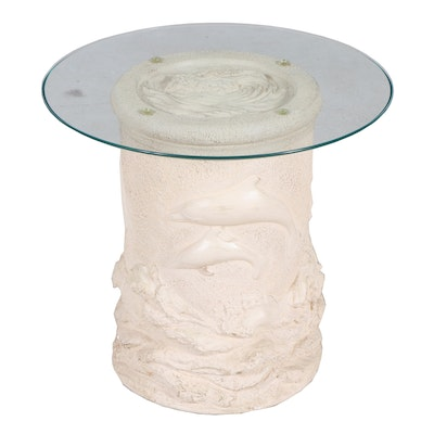Marine-Life Cast Plaster Pedestal Table, Contemporary
