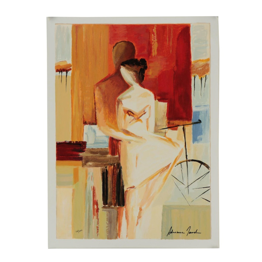 "Adriana Naveh Serigraph ""Lovers on Promenade"""