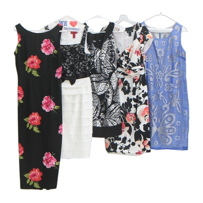 Maggie London Black Floral Print Silk Dress and Other Dresses