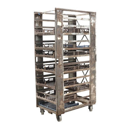 Industrial Style Metal Rolling Bread Cart with Twelve Trays