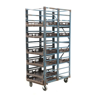 Industrial Style Metal Rolling Bread Cart with Ten Trays