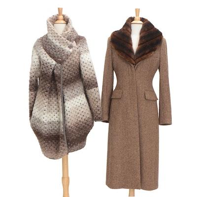 Lauren by Ralph Lauren Herringbone Wool Coat and Italian Knit Wool Wrap Sweater