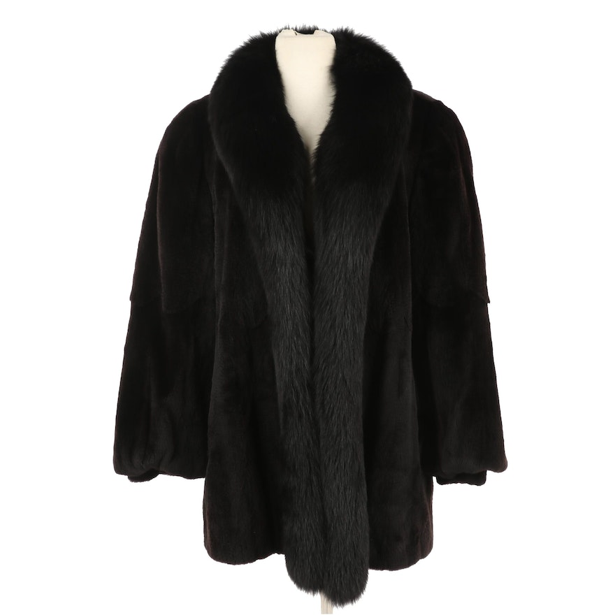 Dyed Sheared Beaver Fur Coat With Dyed Fox Fur Collar from Embry's, Vintage