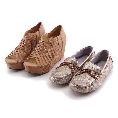 Johnston & Murphy Metallic Camp Moccasins and Chocolat Blu Leather Wedge Sandals