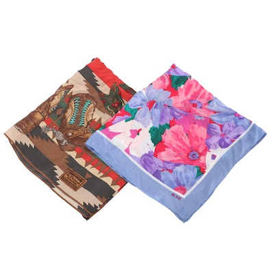 Bill Blass and Ralph Lauren for Polo Silk Scarves