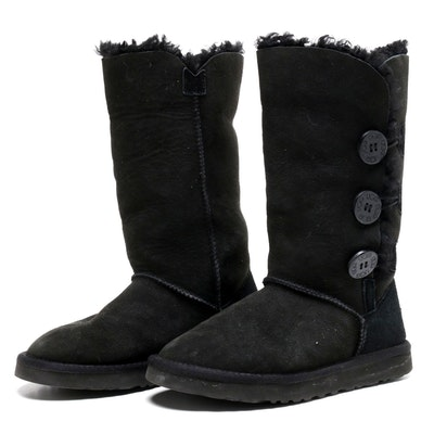 UGG Australia Black Sheepskin and Shearling Bailey Button Boots