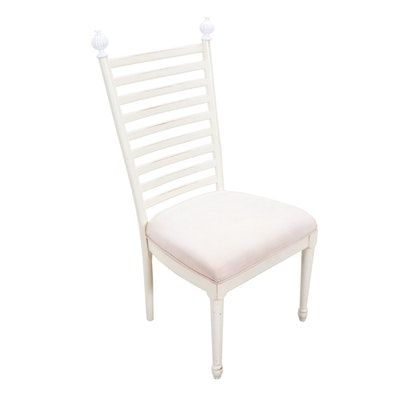 White Painted Ladder-Back Side Chair, Contemporary