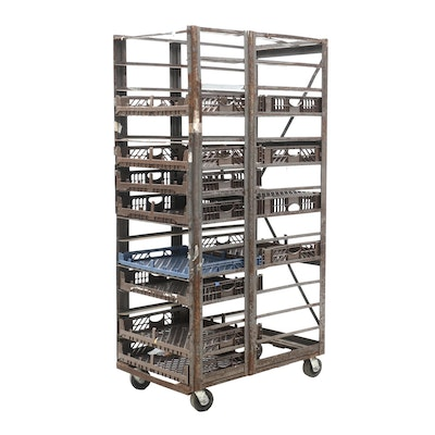 Industrial Style Metal Rolling Bread Cart