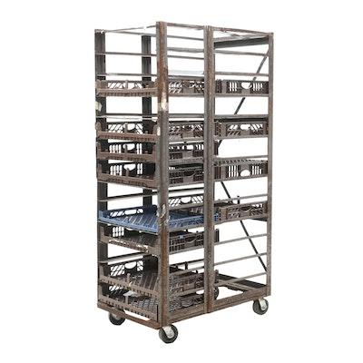 Industrial Style Metal Rolling Bread Cart
