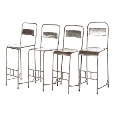 Industrial Style Distressed Metal Bar Stools, Set of Four