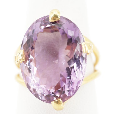 Sterling Silver 15.90 CT Amethyst Ring with Gold Wash